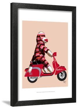 Sock Monkey on Red Moped by Fab Funky