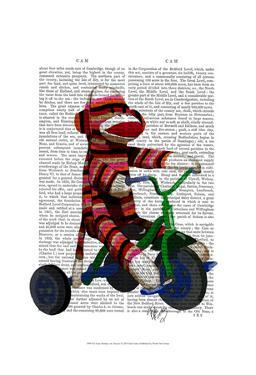 Sock Monkey on Tricycle by Fab Funky