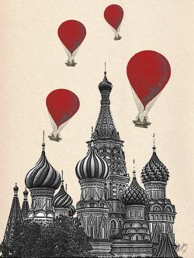 St Basil's Cathedral and Red Hot Air Balloons by Fab Funky