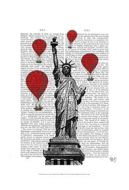 Statue Of Liberty and Red Hot Air Balloons by Fab Funky