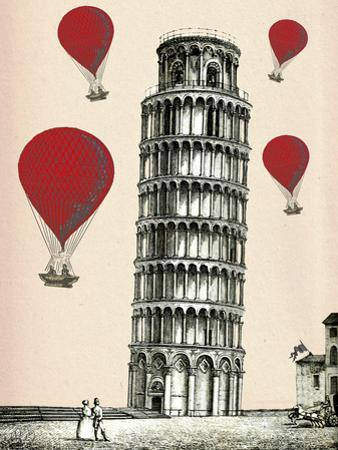 Tower of Pisa and Red Hot Air Balloons