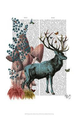 Turquoise Deer in Mushroom Forest by Fab Funky