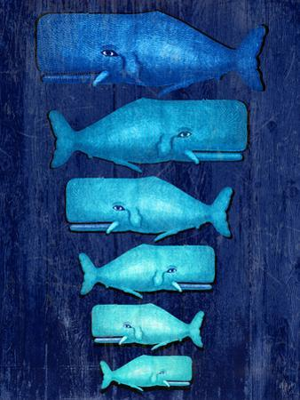 Whale Family Blue on Blue by Fab Funky