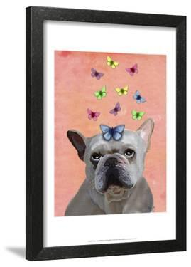 White French Bulldog and Butterflies by Fab Funky