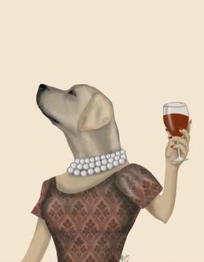 Yellow Labrador Wine Snob by Fab Funky