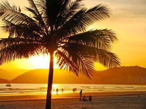 Beautiful Golden Sunset On The Beach Of The City Of Santos In Brazil by fabio fersa