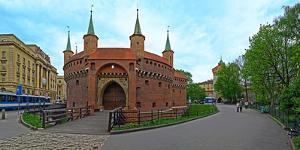 Facade of a Barbakan Fortress, Krakow, Poland