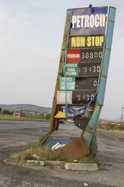 Filling Station Sign, Old, Rotted, Romania by Fact