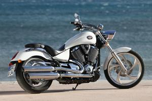 Motorcycle, Cruiser, Victory, White Metallic, Sea in the Background, Diagonal by Fact