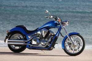 Motorcycle, Honda, Cruiser, Blue, Sea in the Background, Side Standard Right by Fact