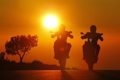 Motorcycles, Funbikes, Husquarna Nuda 900R and Ktm 990 Smc, Back Light, Sundown, Country Road
