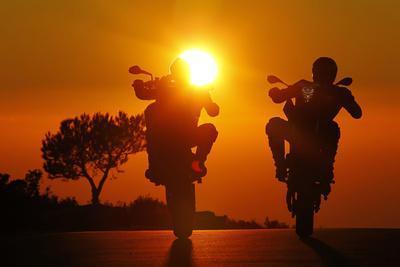 Motorcycles, Funbikes, Husquarna Nuda 900R and Ktm 990 Smc, Back Light, Sundown