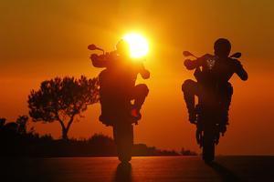 Motorcycles, Funbikes, Husquarna Nuda 900R and Ktm 990 Smc, Back Light, Sundown by Fact