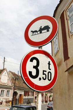 Romania, Road Signs, Ban Sign for Horses and Carts by Fact