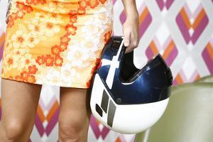 Woman, Stands, Miniskirt, Detail, Legs, Hand, Motorcycle-Helmet, Holding, Retro, People by Fact