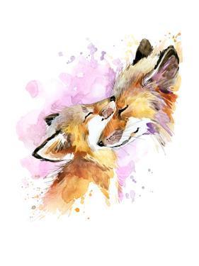 Fox and Baby. Watercolor Illustration. Motherhood Background by Faenkova Elena