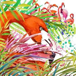Tropical Exotic Forest, Green Leaves, Wildlife, Bird Flamingo Watercolor Illustration. Watercolor B by Faenkova Elena
