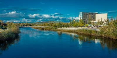 Fairbanks Alaska Skyline view over Chena River