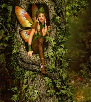 Fairy in a Tree Knothole