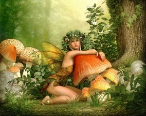 Fairy Leaning on a Mushroom