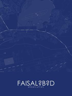 Faisalabad, Pakistan Blue Map