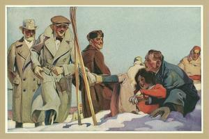 Fallen Skier, Men in Trench Coats