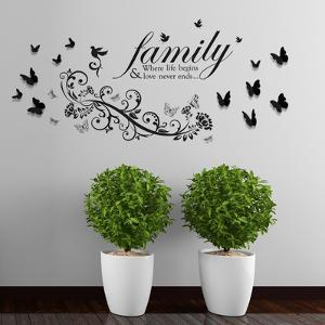 Family Birds Quote with Small Butterfly Vine & 3D Butterflies(Black) Decoration