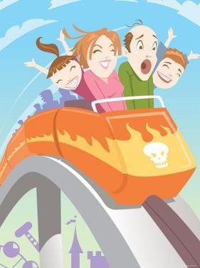 Family Screaming and Riding on Speeding Roller Coaster in Amusement Park