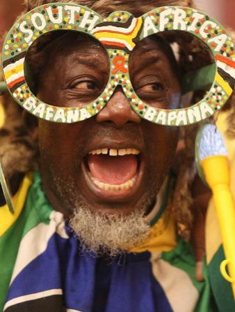 Fan Celebrates in Durban, South Africa During 100-Day Count Down Celebrations to the Fifa World Cup