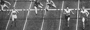 Fanny Blankers-Koen on Her Way to Winning Gold in the 80 M. Hurdles Race at the 1948 London…
