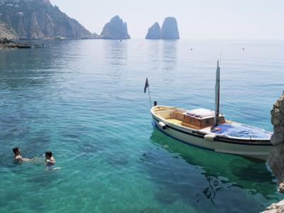 Faraglioni Rocks from Marina Piccola, Island of Capri, Campania, Italy, Mediterranean by G Richardson