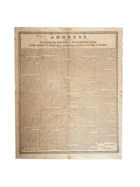 Farewell Address of the Late General George Washington, 17th September 1796