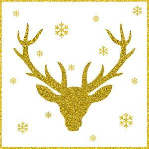 Head of Deer with Big Horns. Trendy Gold Glitter Texture. by Farferros