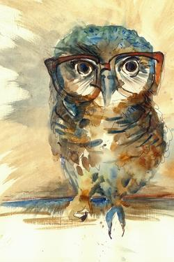 Wise Owl with Big Eyes in Hipster Glasses Animal Watercolor Painting Poster Colored Print Textile P by Farianna
