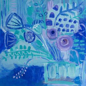 Blue Flora Abstract by Farida Zaman