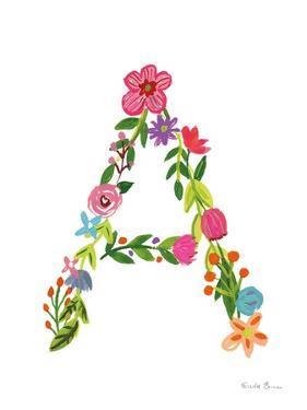 Floral Alphabet Letter I by Farida Zaman