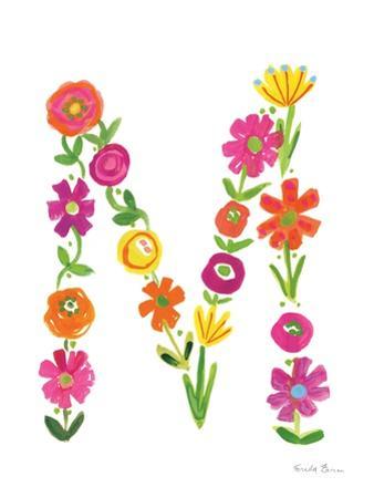 Floral Alphabet Letter XIII by Farida Zaman