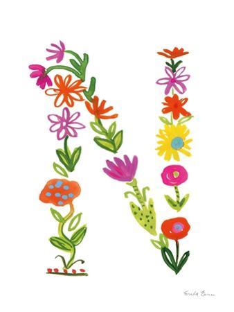 Floral Alphabet Letter XIV by Farida Zaman