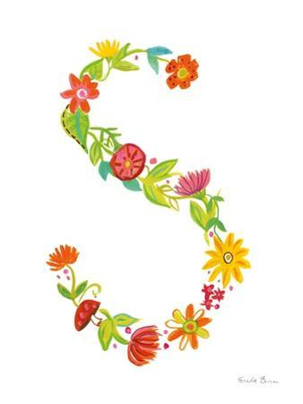 Floral Alphabet Letter XIX by Farida Zaman