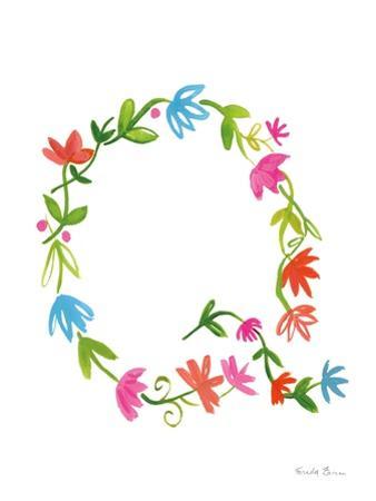 Floral Alphabet Letter XVII by Farida Zaman