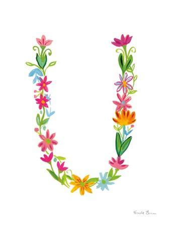 Floral Alphabet Letter XXI by Farida Zaman