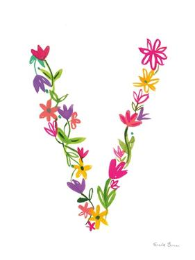 Floral Alphabet Letter XXII by Farida Zaman