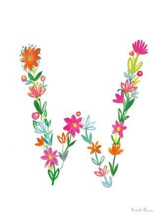 Floral Alphabet Letter XXIII by Farida Zaman