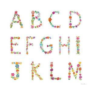 Floral Alphabet Sq I by Farida Zaman