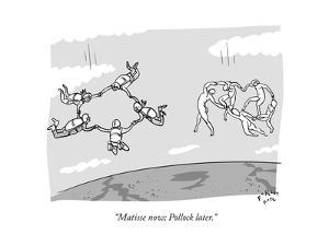A group of skydivers fly though the air next to a group of figures from a … - New Yorker Cartoon by Farley Katz