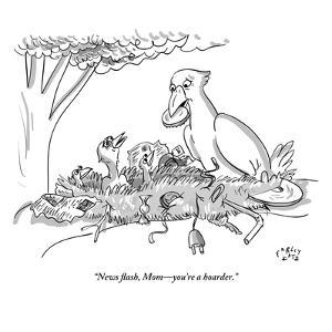 """News flash, Mom—you're a hoarder."" - New Yorker Cartoon by Farley Katz"