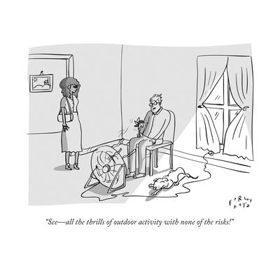 """""""See?all the thrills of outdoor activity with none of the risks!"""" - New Yorker Cartoon"""