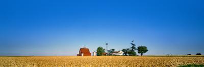 Farm against clear sky, Illinois, USA
