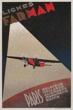 Farman Airways Poster, Vintage Plane