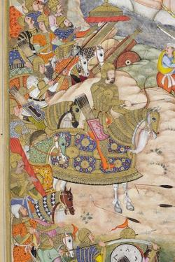 Detail from Babur's Troops Take the Fortress at Kabul, C.1590-1600 by Farrukh & Dharmdas
